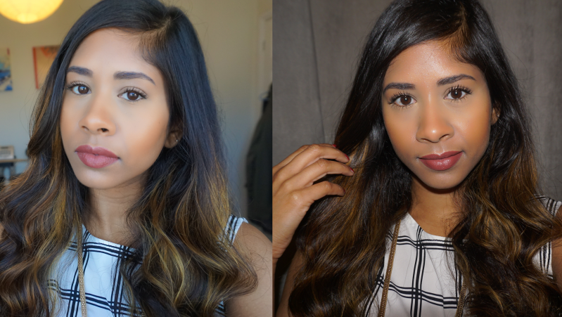 Left: Natural Light. Right: Flash. Lips: MAC Verve. Bronzer: ELF Los Cabos.
